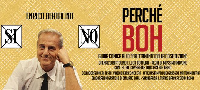 Bertolino al Brancaccio, il Referendum tra talk politico e comicità