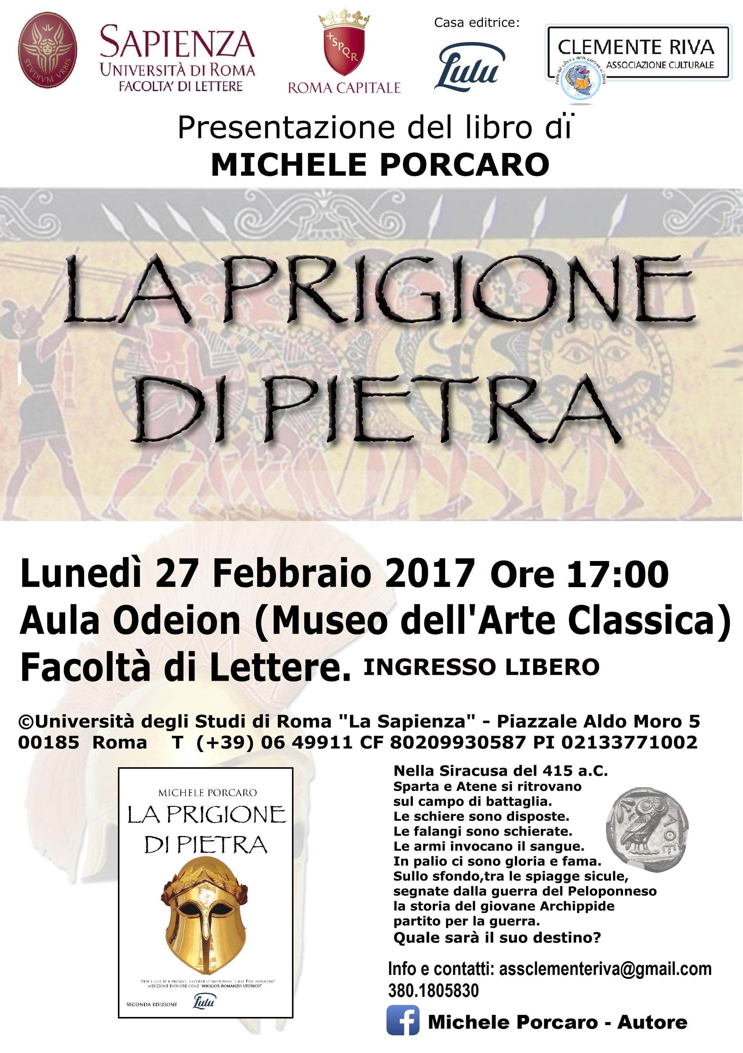 La prigione di pietra, presentazione presso la sala Odeion della facoltà di Lettera a La Sapienza di Roma