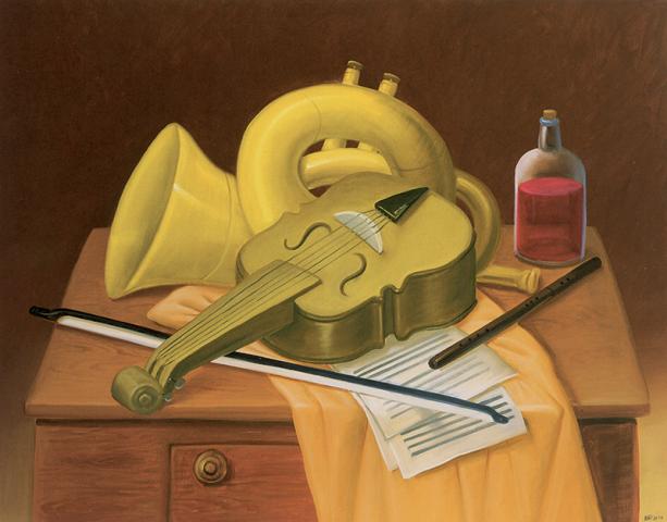 Fernando Botero, Natura morta con strumenti musicali - 2004 - Olio su tela 103x131 cm