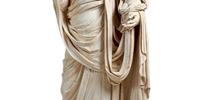 Messaline drapÈe et voilÈe, debout, portant Britannicus enfant