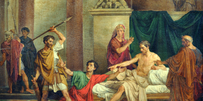 Raffaele Postiglione, LÔÇÖimperatore Claudio nella casa di Valerio Asiatico – olio su tela, Galleria Vincent, Napoli