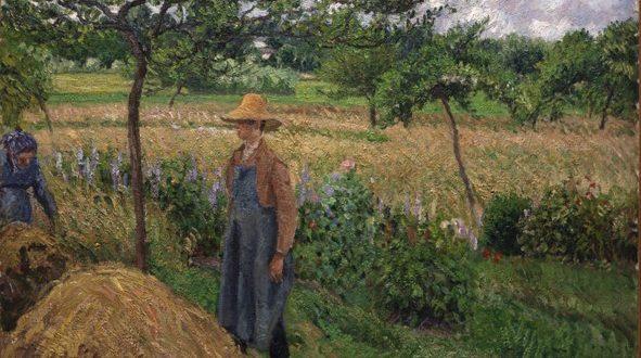 Camille Pissarro – Gardener standing by a Haystack, overcast sky, Eragny, 1899