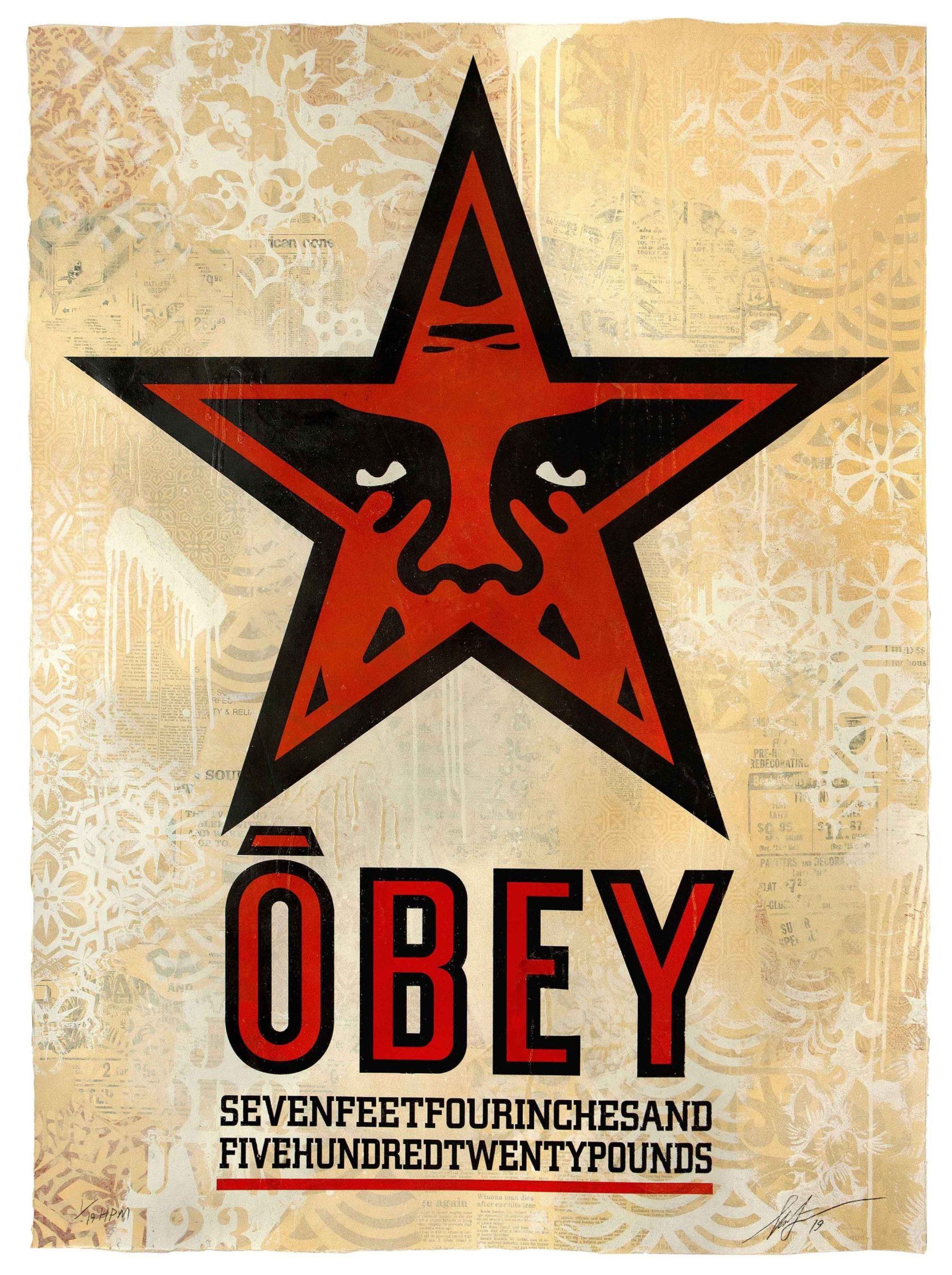 Shepard Fairey, Obey Star, 2019, Silkscreen and mixed media collage on paper