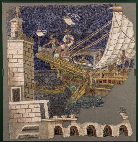 Musei Capitolini, Antiquarium, Mosaico policromo parietale con nave e faro
