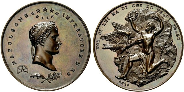 Profilo destro di Napoleone I laureato , Prometeo incatenato a una roccia e beccato dall'aquila